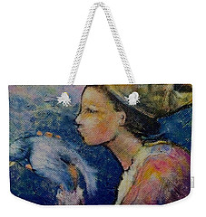 Weekender Tote Bag featuring the painting The Queen's Kiss by Eleatta Diver