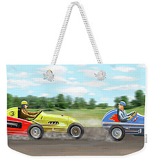 Weekender Tote Bag featuring the digital art The Racers by Gary Giacomelli