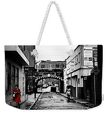 The Rail And The Red Raincoat Weekender Tote Bag