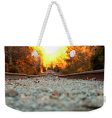 Weekender Tote Bag featuring the digital art The Railroad Tracks From A New Perspective by Chris Flees