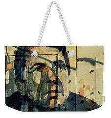 Weekender Tote Bag featuring the painting The Rain Falls Down On Last Years Man  by Paul Lovering