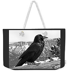 The Raven - Black And White Weekender Tote Bag by Rona Black