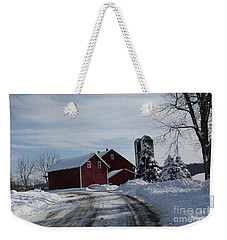 The Red Barn In The Snow Weekender Tote Bag