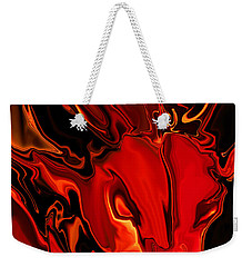 Weekender Tote Bag featuring the digital art The Red Bull by Rabi Khan