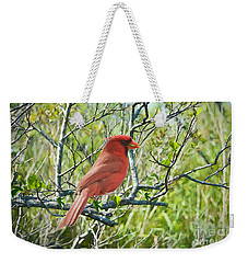 The Red Cardinal Weekender Tote Bag