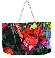 The Red Flower And The Rainbow Flowers Weekender Tote Bag