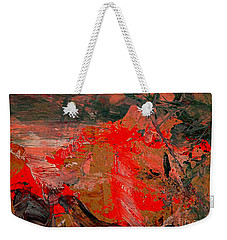 Weekender Tote Bag featuring the painting The Red Garden by Nancy Kane Chapman