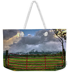 Weekender Tote Bag featuring the photograph The Red Gate by Douglas Stucky