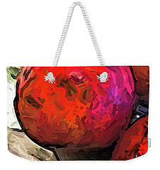 The Red Pomegranates On The Marble Chopping Board Weekender Tote Bag