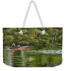 Weekender Tote Bag featuring the painting The Red Punt by Murray McLeod