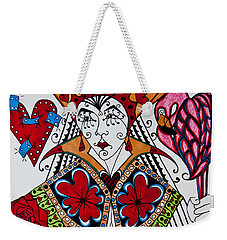 Weekender Tote Bag featuring the painting The Red Queen by Jani Freimann