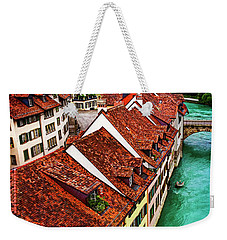 Weekender Tote Bag featuring the photograph The Red Rooftops Of Bern Switzerland  by Carol Japp