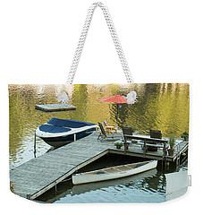 The Red Umbrella At The Lake Weekender Tote Bag