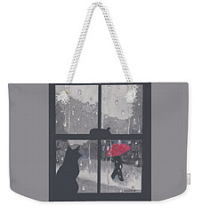 The Red Umbrella Weekender Tote Bag by Quwatha Valentine