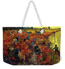 Weekender Tote Bag featuring the painting The Red Vineyard At Arles by Van Gogh