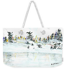 Weekender Tote Bag featuring the painting The Reflection Lake by Darren Cannell