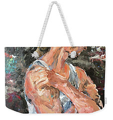 Weekender Tote Bag featuring the painting The Reflective Pause by Diane Daigle
