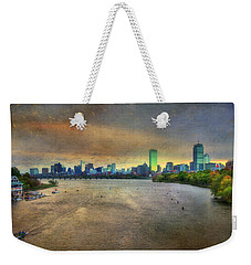 Weekender Tote Bag featuring the photograph The Regatta - Head Of The Charles - Boston by Joann Vitali