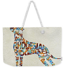 Weekender Tote Bag featuring the painting The Rhodesian Ridgeback Dog Watercolor Painting / Typographic Art by Ayse and Deniz