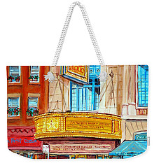 Weekender Tote Bag featuring the painting The Rialto Theatre Montreal by Carole Spandau