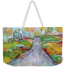 Weekender Tote Bag featuring the painting The Road Home by Claire Bull