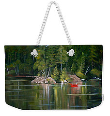 The Rock On Mirror In Woodstock New Hampshire Weekender Tote Bag