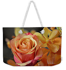 Weekender Tote Bag featuring the photograph The Rose And The Orchid by Diana Mary Sharpton