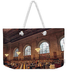 Weekender Tote Bag featuring the photograph The Rose Reading Room by Jessica Jenney