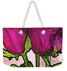 The Roses With The Green Stems And Leaves Weekender Tote Bag