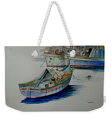 Weekender Tote Bag featuring the painting The San George by Ray Agius