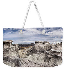 Weekender Tote Bag featuring the photograph The Sandcastles by Melany Sarafis