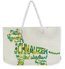 Weekender Tote Bag featuring the painting The Schnauzer Dog Watercolor Painting / Typographic Art by Ayse and Deniz