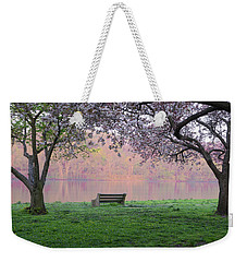 Weekender Tote Bag featuring the photograph The Schuykill River At Kelly Drive In The Spring by Bill Cannon
