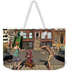 The Scolding Or  Aka When A Dog's Gotta Go Weekender Tote Bag by Ken Morris