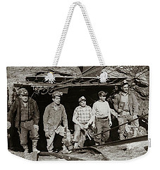 The Search And Retrieval Team After The Knox Mine Disaster Port Griffith Pa 1959 At Mine Entrance Weekender Tote Bag