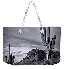 Weekender Tote Bag featuring the photograph The Sentinels Of The Supes In Black And White  by Saija Lehtonen