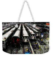 Weekender Tote Bag featuring the photograph The Seven Train Yard Queens Ny by Iowan Stone-Flowers