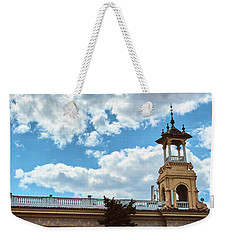 Weekender Tote Bag featuring the photograph The Sky Above The Towers Of Montjuic by Eduardo Jose Accorinti