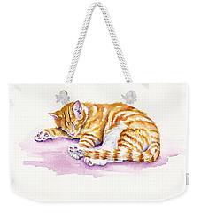 The Sleepy Kitten Weekender Tote Bag by Debra Hall