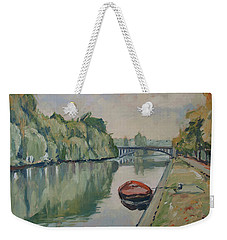 The Small Boat Along The Quai Of Halage Vise Weekender Tote Bag