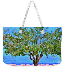 Weekender Tote Bag featuring the photograph The Smiling Tree Of Benitses by Leigh Kemp