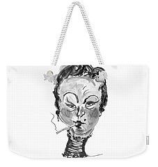 Weekender Tote Bag featuring the mixed media The Smoker - Black And White by Marian Voicu