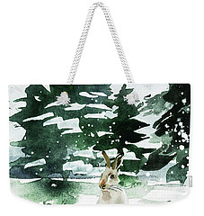 Weekender Tote Bag featuring the painting The Snow Bunny by Colleen Taylor