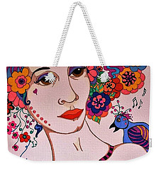 Weekender Tote Bag featuring the painting The Songbird by Alison Caltrider