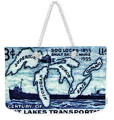 The Soo Locks Stamp Weekender Tote Bag
