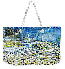 Weekender Tote Bag featuring the painting The Sound Of The Rain by Evelina Popilian