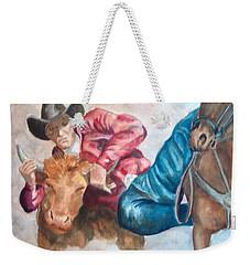 The Steer Wrestler Weekender Tote Bag
