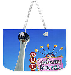The Stratosphere Casino In Front Of The Holiday Motel Sign Weekender Tote Bag by Aloha Art