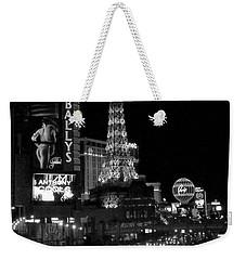 The Strip By Night B-w Weekender Tote Bag