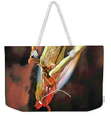 Weekender Tote Bag featuring the sculpture The Sword Of St. Michael by Dave Luebbert